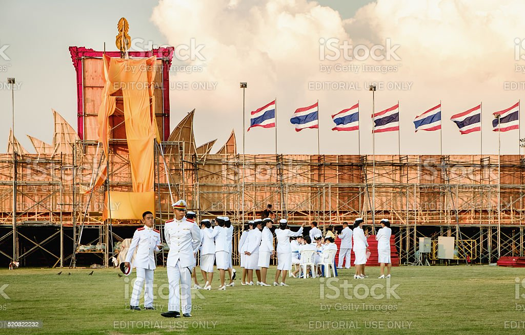 Students of the Royal Thai Navy in father's day, Thailand. stock photo