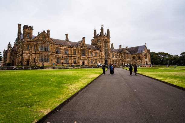 Students on Campus at Sydney University stock photo
