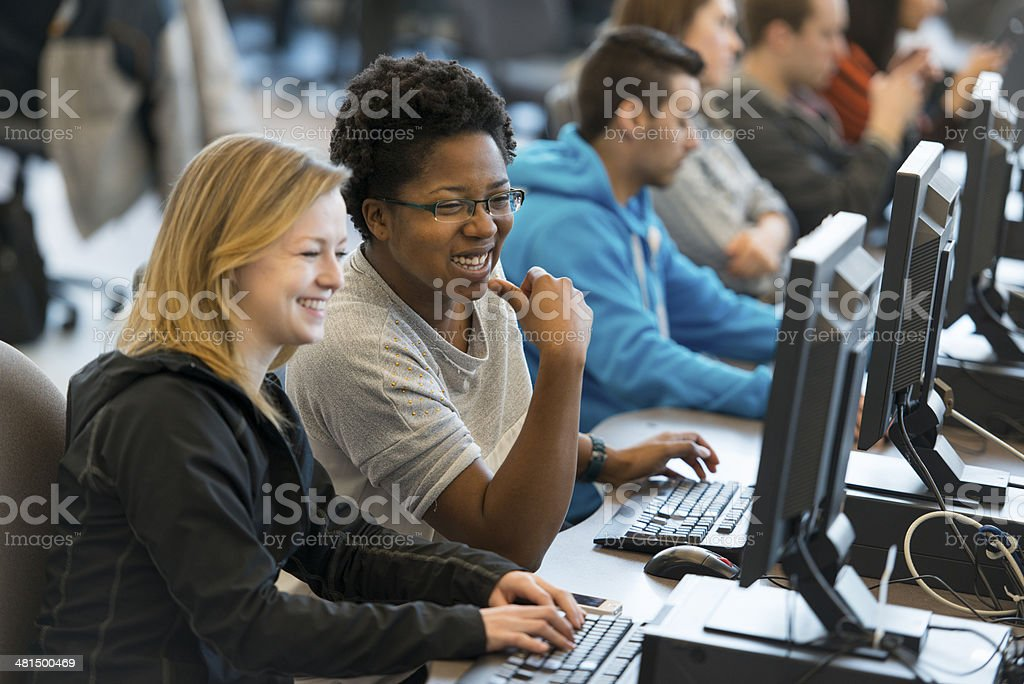 Students on Computers stock photo