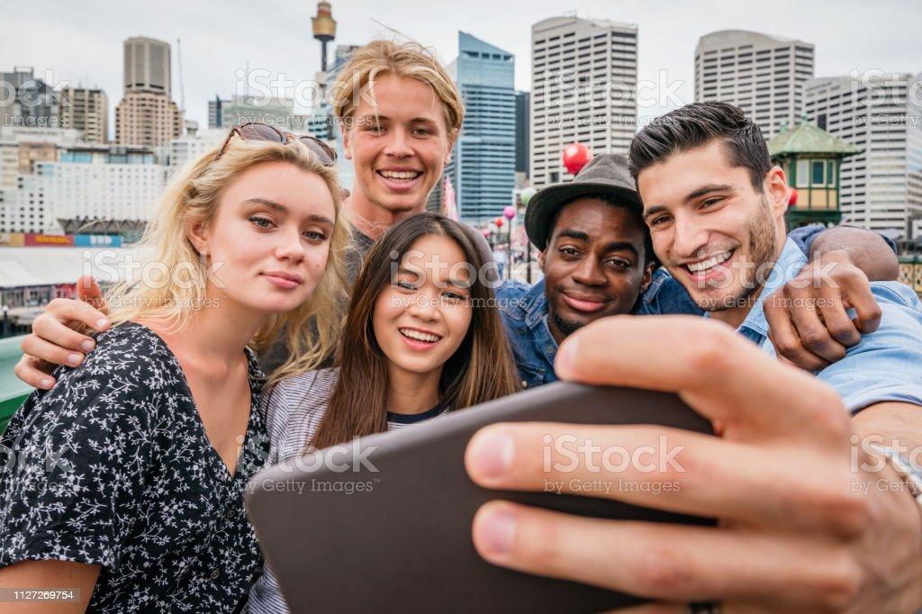Students on Roadtrip Vlogging from Sydney Australia stock photo