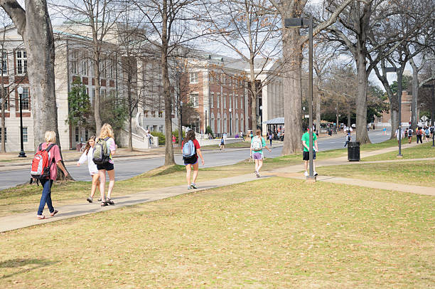 Students on The University of Alabama campus stock photo