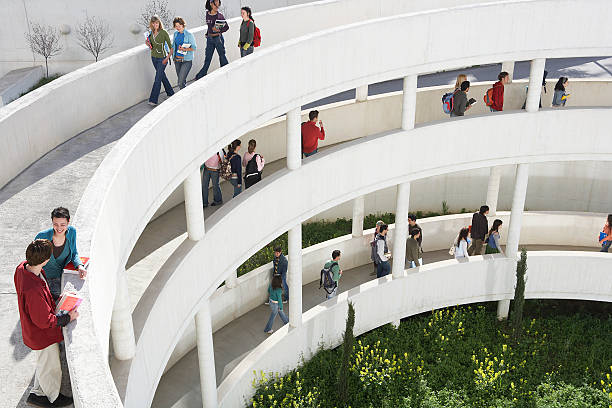 Students on walkways, outdoors, elevated view stock photo