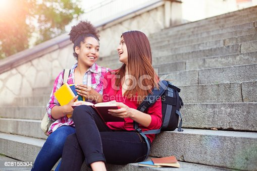 student, book, happy, stairs, outdoor