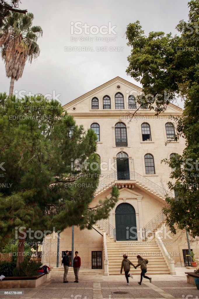 Students Playing in the Garden of Tarsus American College royalty-free stock photo