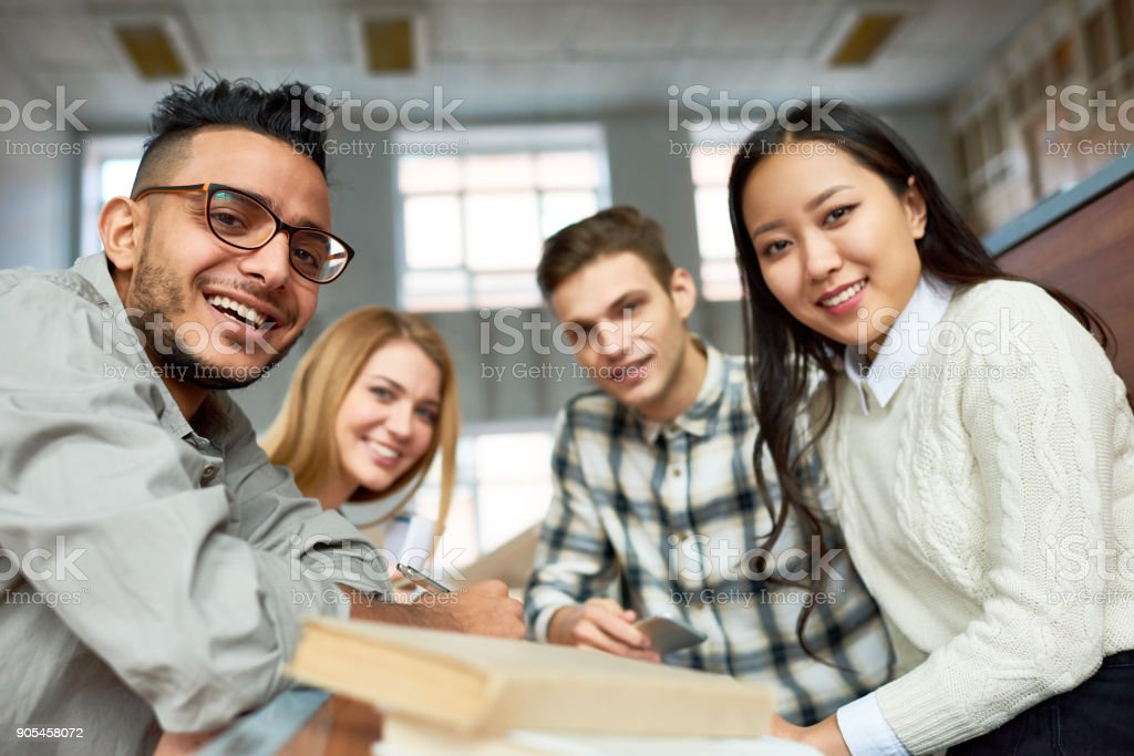 Students Posing in Class stock photo