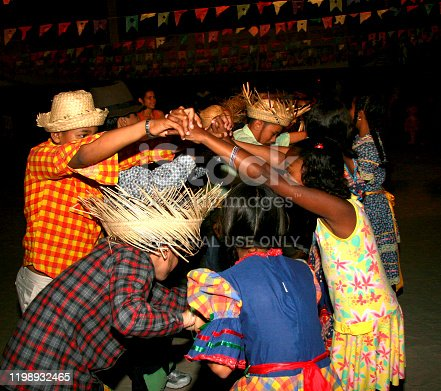 eunapolis, bahia / brazil - june 18, 2013: Eunapolis city public school students celebrate the festivities of Sao Joao, dancing gang.