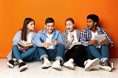 istock Students preparing for exams, guy showing phone 1179963260