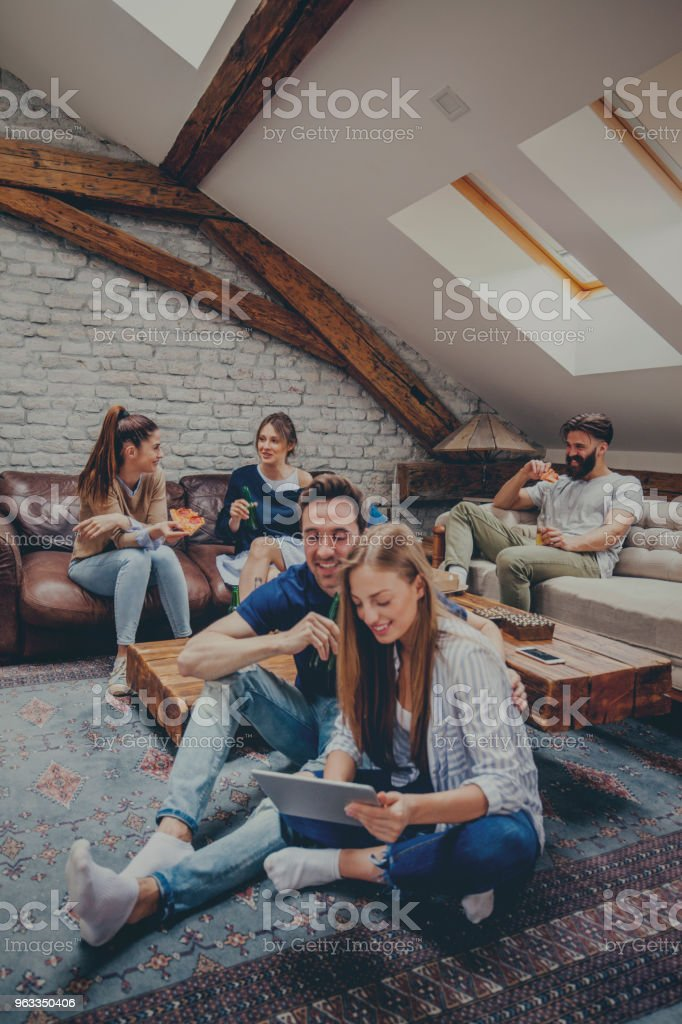 Students resting after classes stock photo