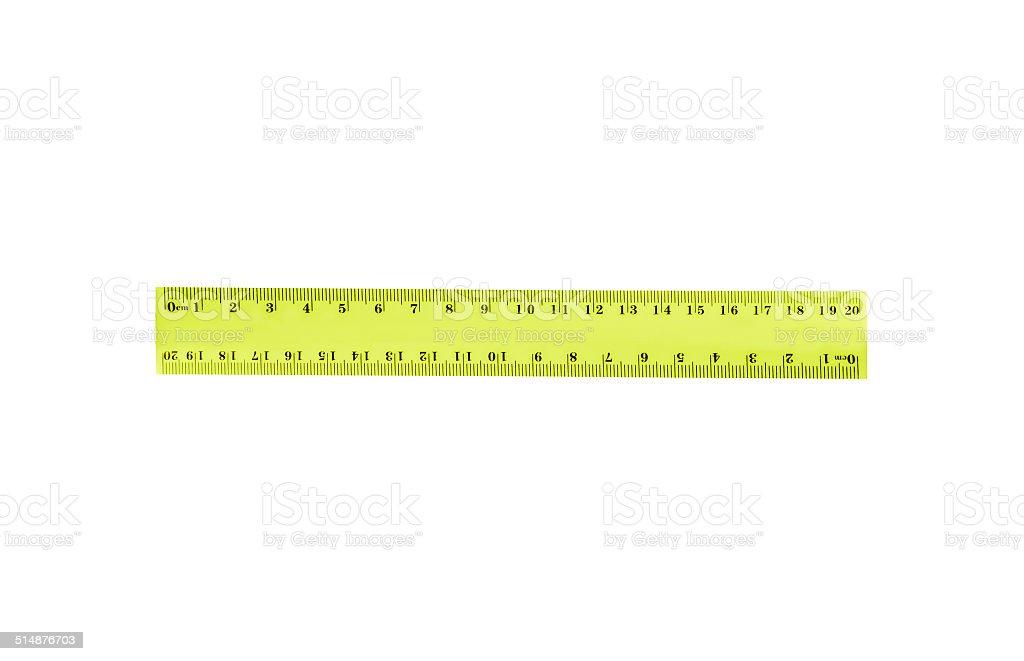 Student's ruler isolated on white background. stock photo