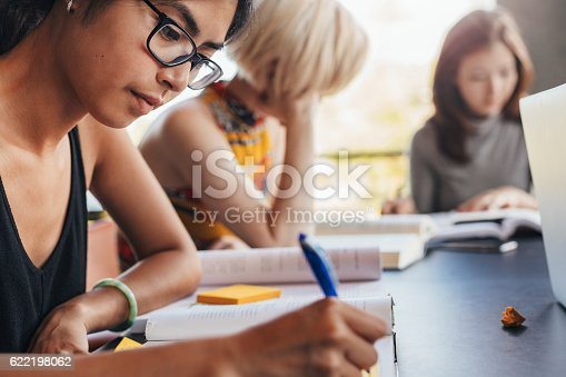 istock Students sitting at library with books and studying 622198062