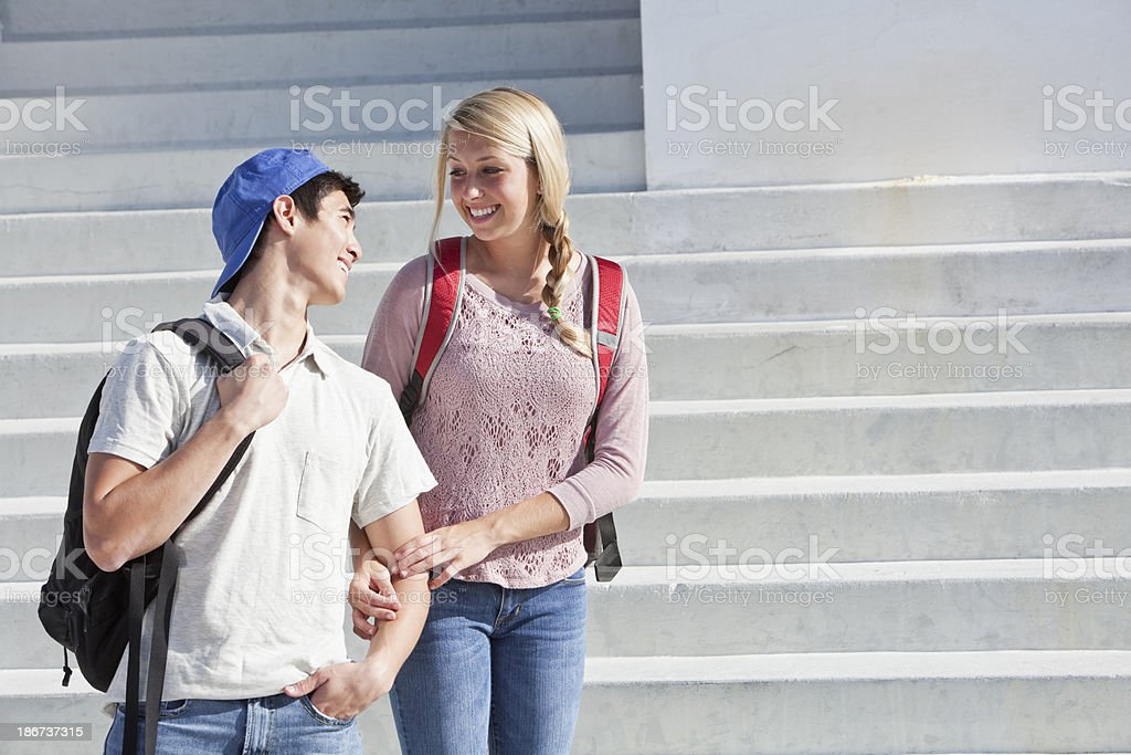 Students standing on steps royalty-free stock photo