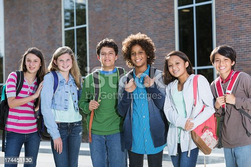 istock Students standing outside building 174451130