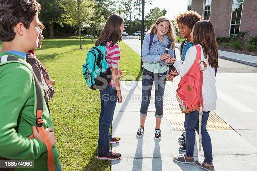 istock Students standing outside school 186574960
