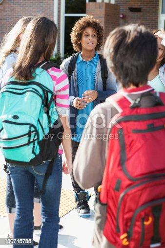 istock Students standing outside school 186745788