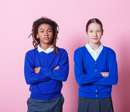 Students Standing With Arms Crossed Stock Photo - Download Image Now