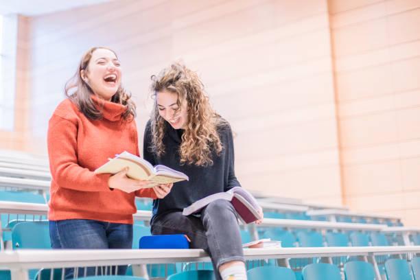 students study and enjoy in the  classroom - esame maturità foto e immagini stock