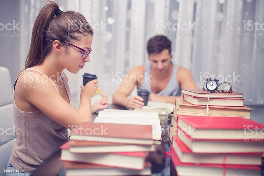 Students studying and frinking coffee royalty-free stock photo
