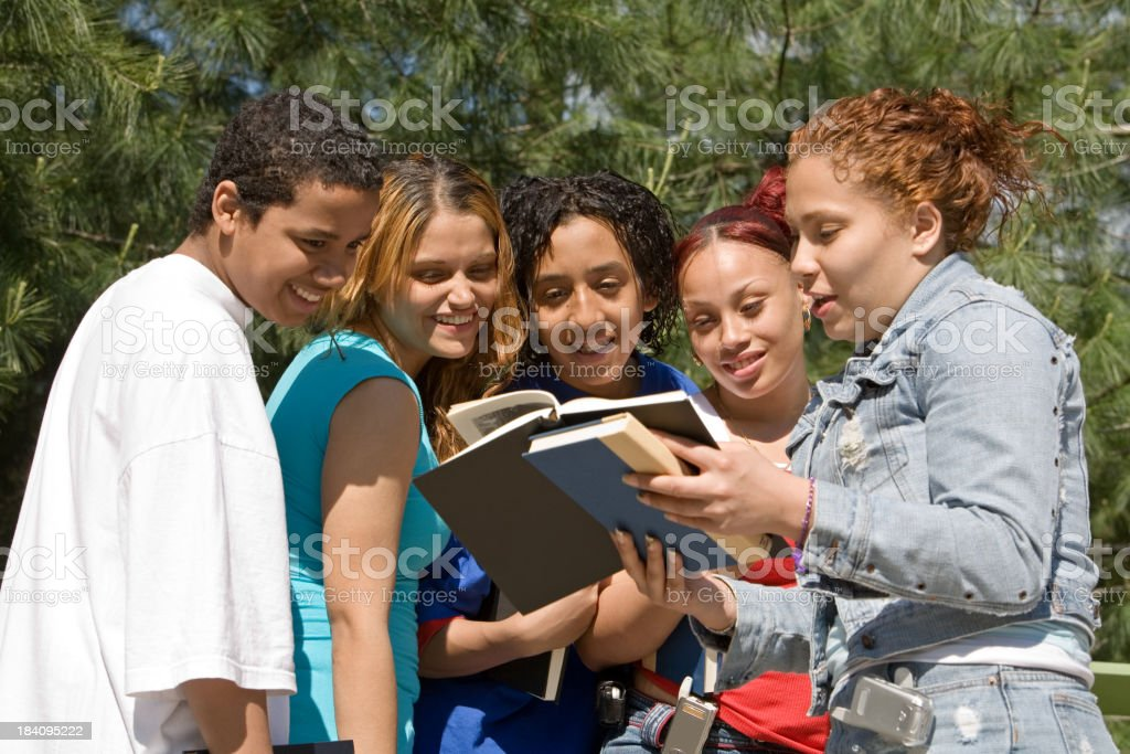 Students studying and having fun royalty-free stock photo