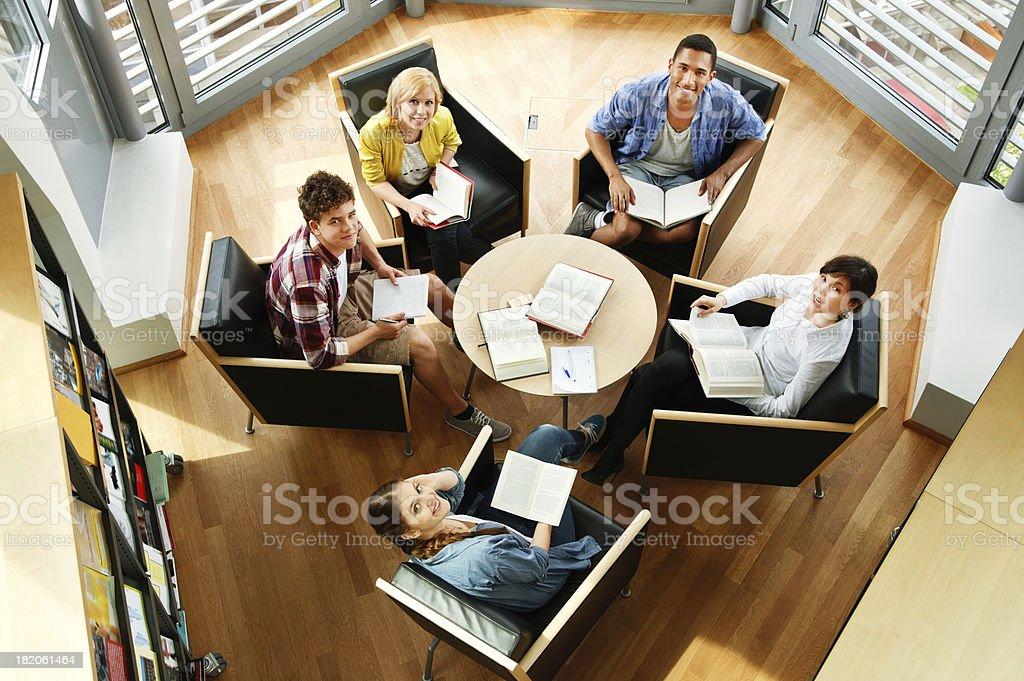 Students Studying In Library royalty-free stock photo