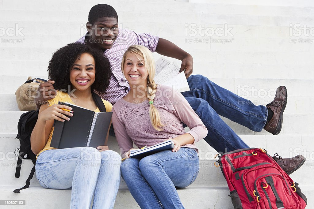 Students studying outdoors royalty-free stock photo