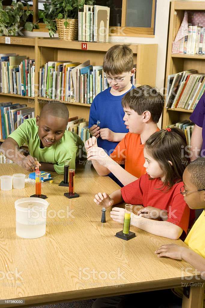 Students Studying Science at School royalty-free stock photo