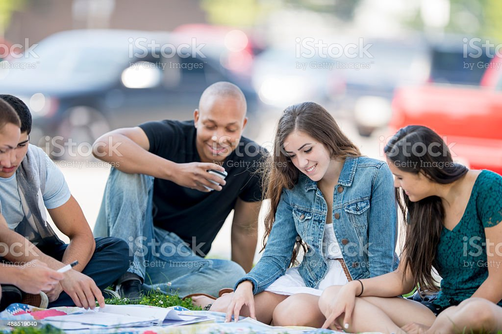 Students Studying Together Outside stock photo
