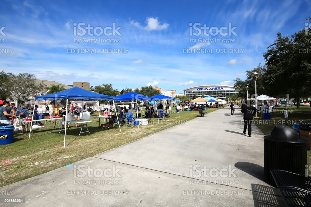 Students tailgating on Memory Mall stock photo