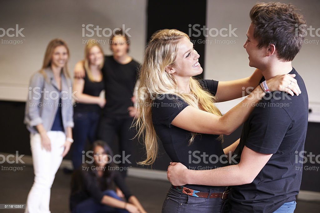 Students Taking Acting Class At Drama College stock photo