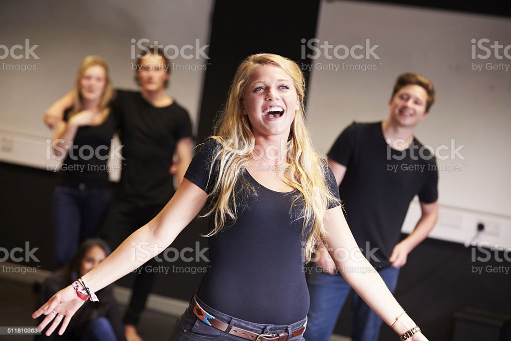 Students Taking Singing Class At Drama College stock photo