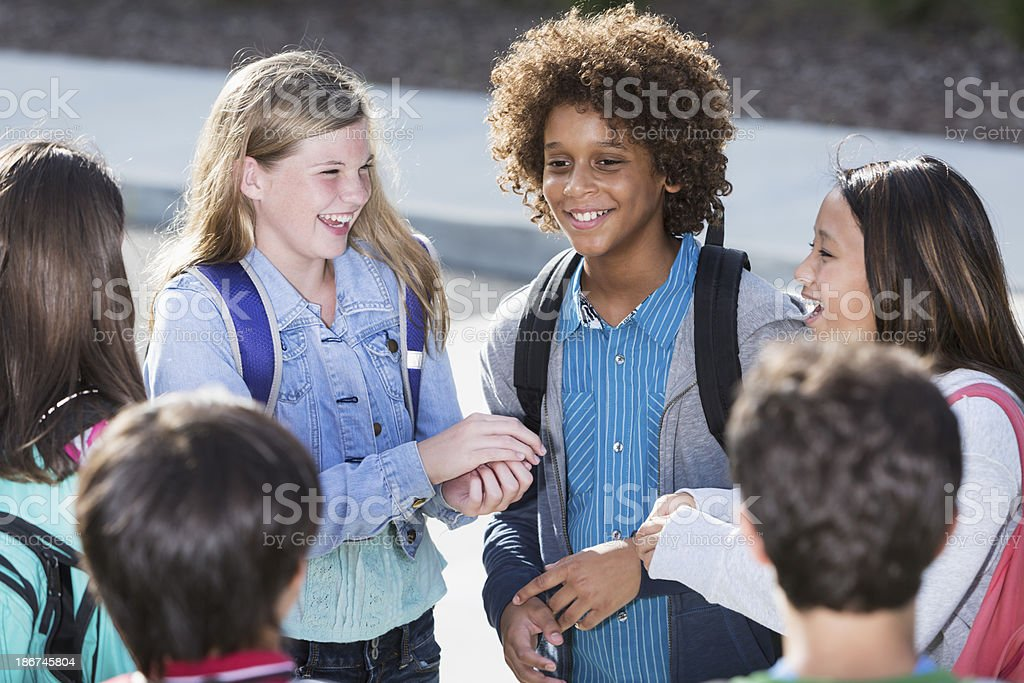 Students talking outdoors royalty-free stock photo