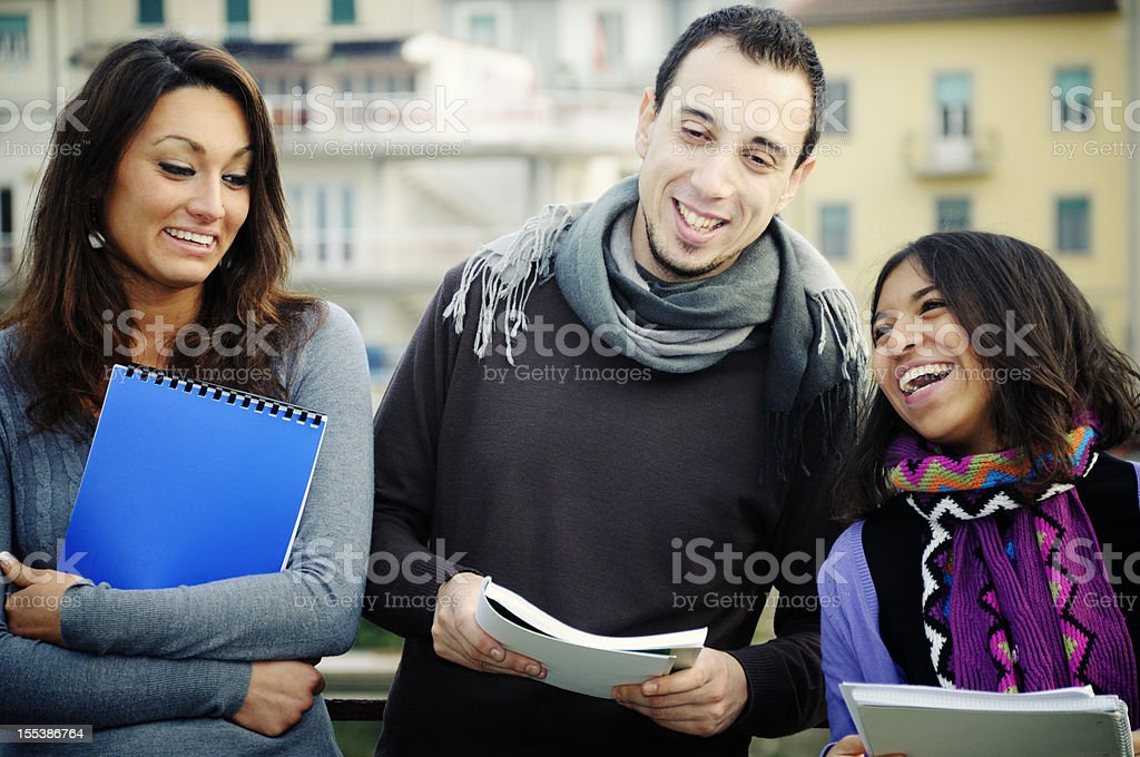 Students Talking Urban Scene royalty-free stock photo