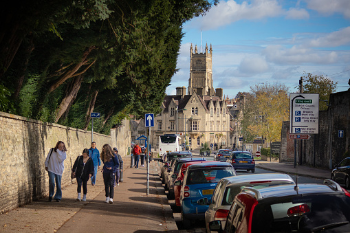 Students walking up the old Tetbury road to the nearby Deer Park secondary school in Cirencester, the capital of The Cotswolds, Gloucestershire, England.