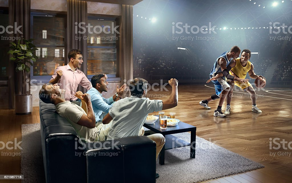 Students watching very realistic Basketball game at home - Photo