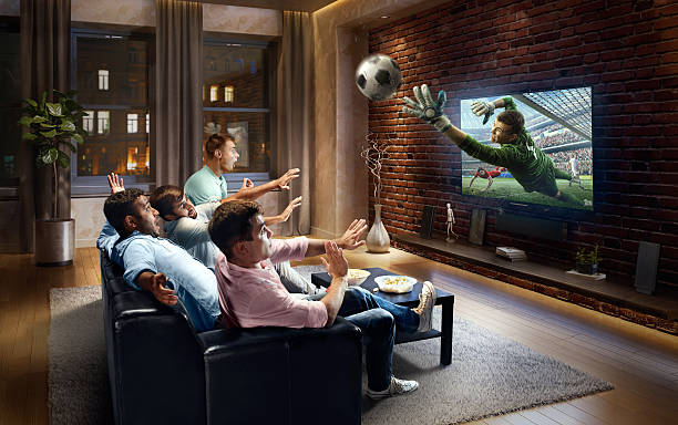 Students watching very realistic Soccer game on TV ストックフォト