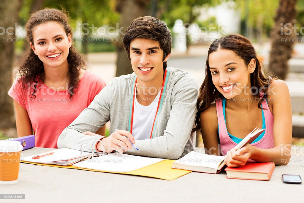 Students With Books And Ring Binder Sitting On College Campus royalty-free stock photo