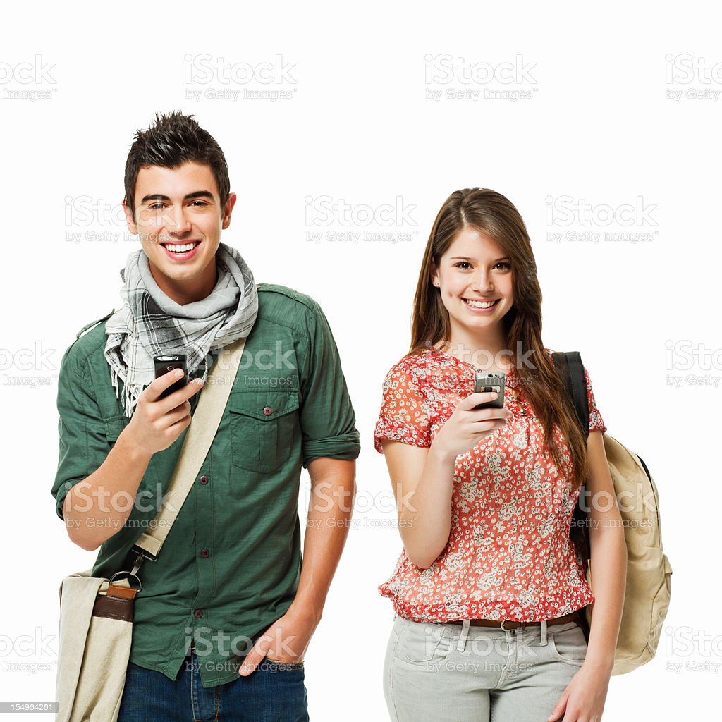 Students With Cellphones - Isolated royalty-free stock photo