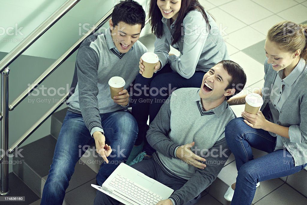 Students with laptop royalty-free stock photo