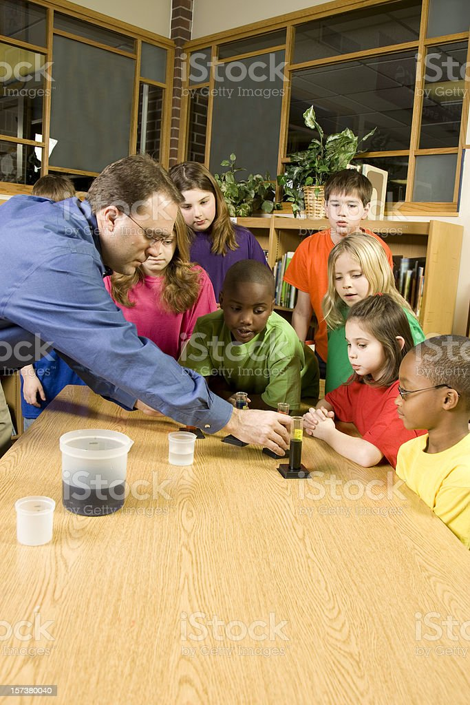 Students with Teacher Studying Science royalty-free stock photo