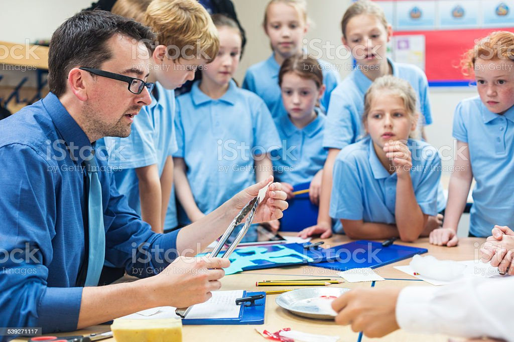 Students With Their Teacher in Science Class stock photo