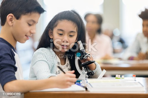 istock Students work on assignment together during science class 1138904389