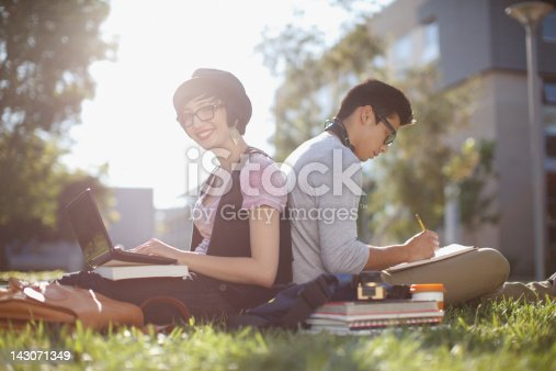 istock Students working together in grass outdoors 143071349
