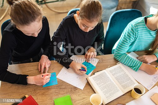 818533812 istock photo Students writing the task in notebooks 1152837883