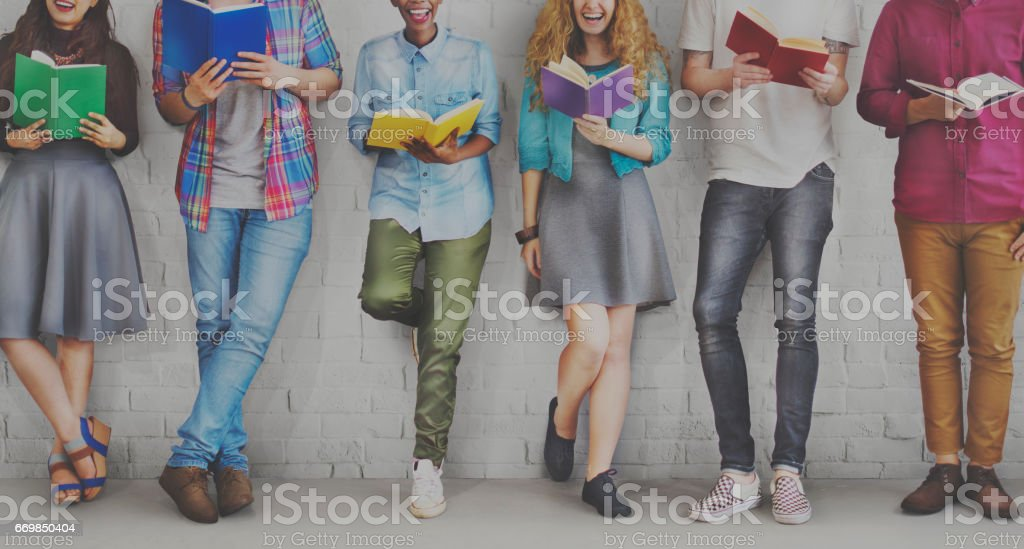 Students Youth Adult Reading Education Knowledge Concept stock photo