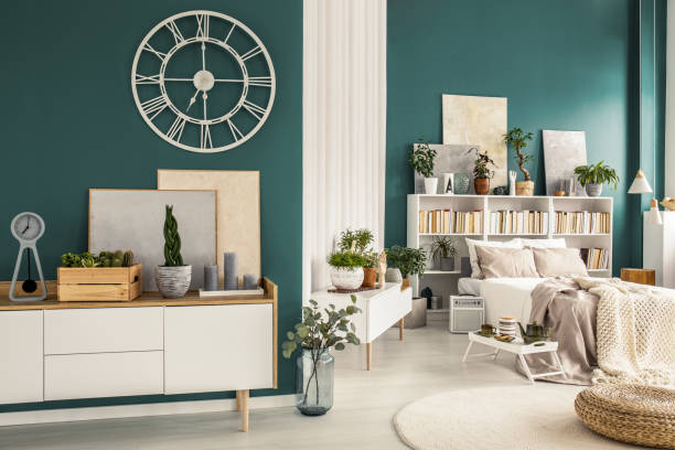studio apartment with designer decorations - sideboard imagens e fotografias de stock