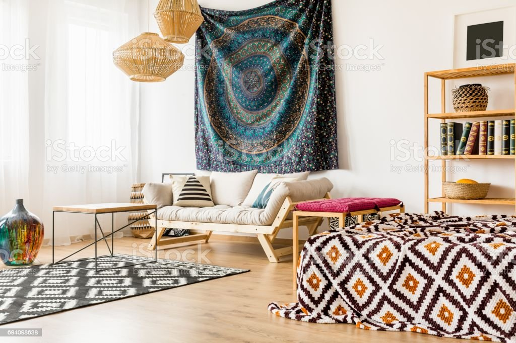 Studio apartment with oriental patterns stock photo