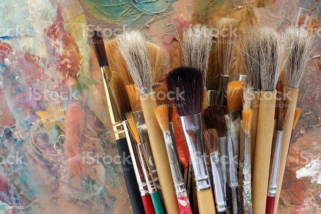 studio art palette and brushes 02 stock photo