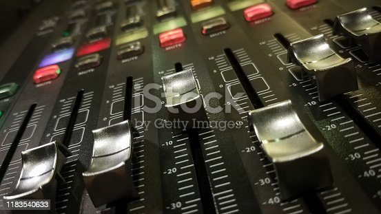 studio audio control panel and sound system control panel