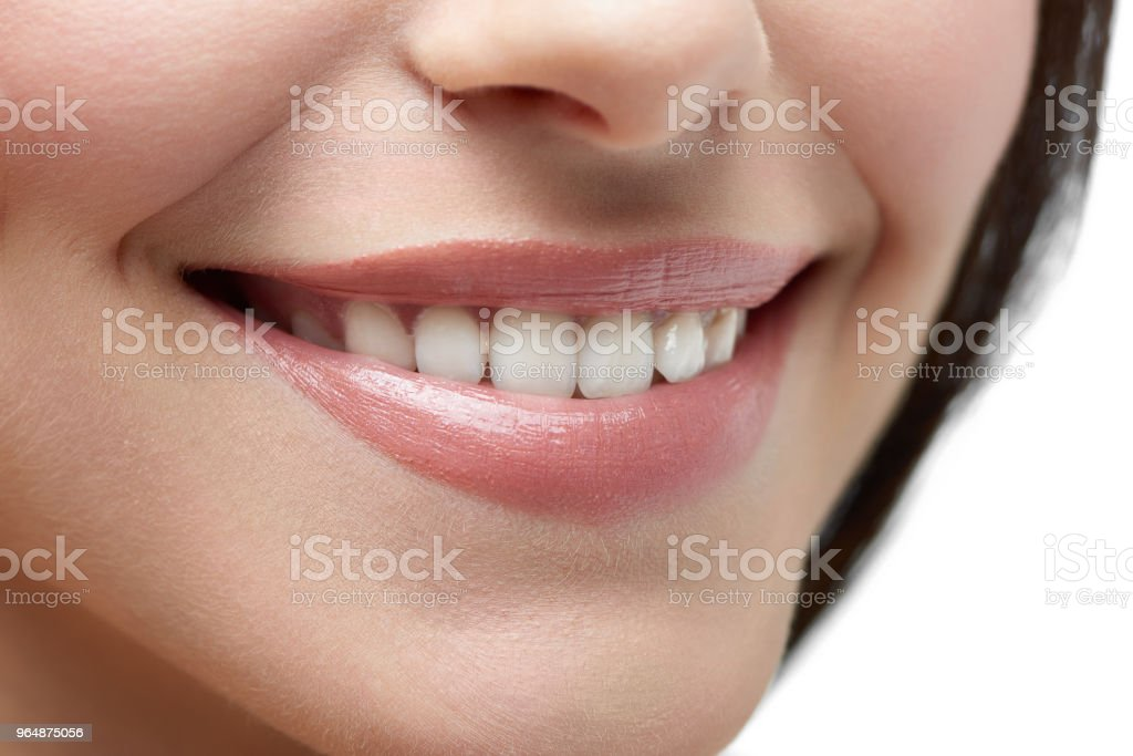 Studio close up of model's beatiful smile. royalty-free stock photo