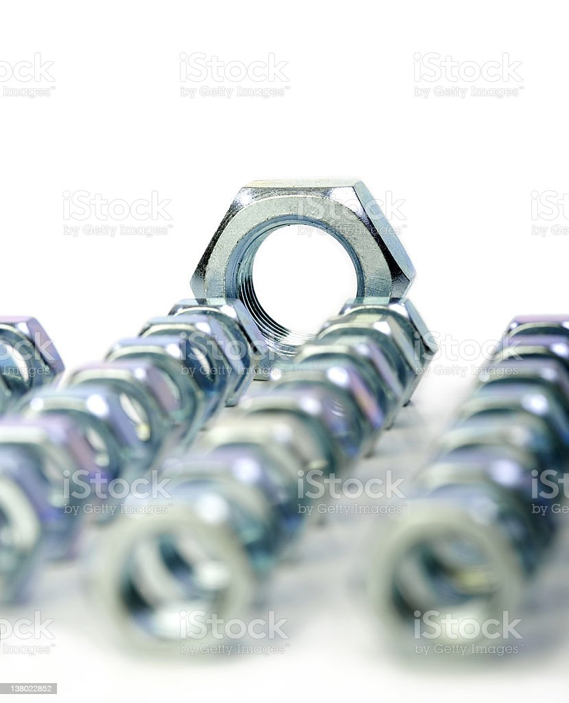 Studio close ups of various hex nuts royalty-free stock photo