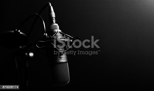 istock studio condenser microphone, copy space on right 870005174